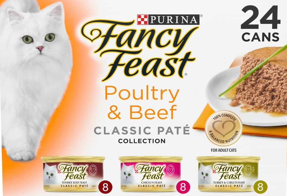Fancy Feast Poultry & Beef Classic Pate Variety Pack Canned Cat Food, 3-oz, case
